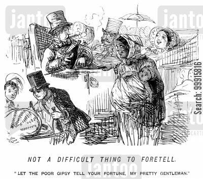 gipsies cartoon humor: Gypsy wanting to tell the fortune of a man who is smoking and drinking