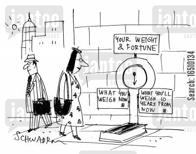 tell your weight cartoon humor: Your weight and fortune. What you'll weigh now...what you'll weigh 10 years from now.