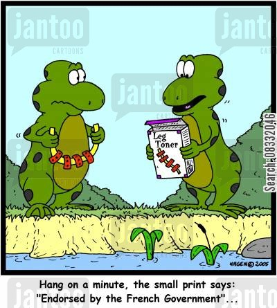 frogs legs cartoon humor: 'Hang on a minute, the small print says: 'Endorsed by the French Government'...'