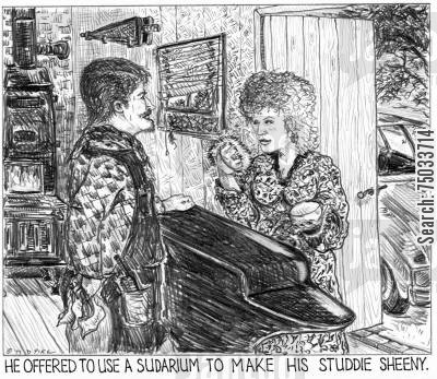 repairmen cartoon humor: 'He offered to use a sudarium to make his studdie sheeny.'