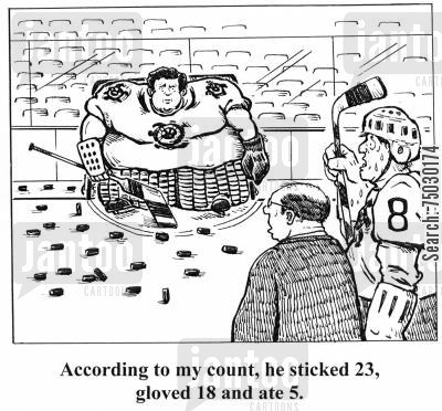 devour cartoon humor: 'According to my count, he sticked 23, gloved 18 and ate 5.'