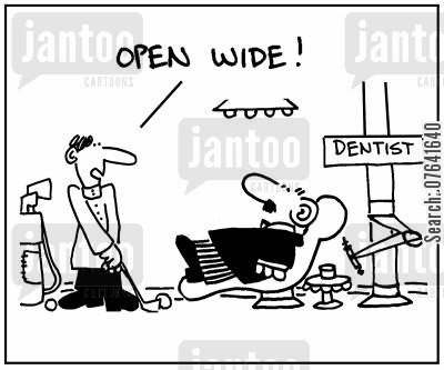 dental nurses cartoon humor: 'Open wide.'
