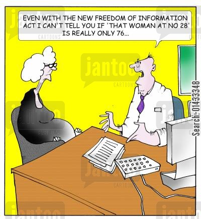 nosy neighbor cartoon humor: Even with the new freedom of information act I can't tell you if that woman at number 28 is really only 76...