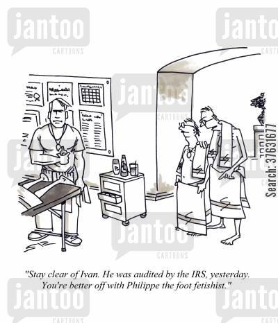 health club cartoon humor: 'Stay clear of Ivan, He was audited by the IRS, yesterday, You're better off with Philippe the foot fetishist,'