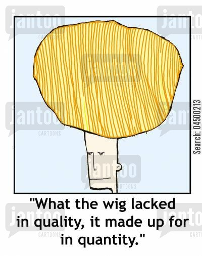 quantities cartoon humor: 'What the wig lacked in quality, it made up for in quantity.'