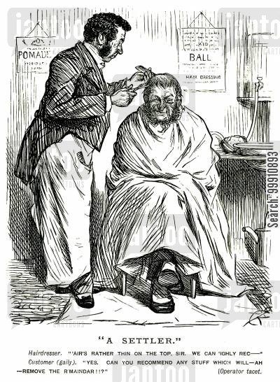 cutting cartoon humor: Balding man at the hairdresser's