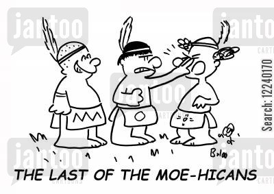 three stooges cartoon humor: The Last of the Moehicans.