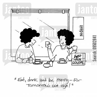 hair colors cartoon humor: 'Eat, drink and be merry - for tomorrow we dye!'