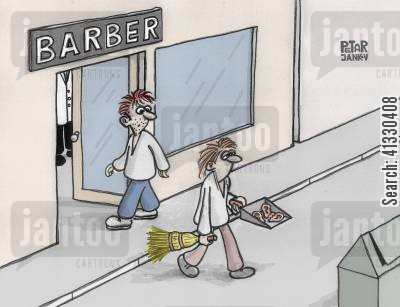 hairstyles cartoon humor: Barber Shop Gets Rid of Ears.