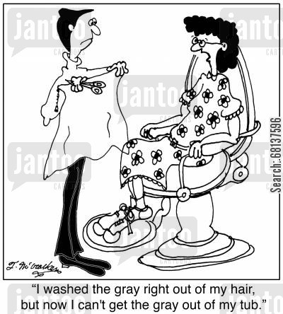 gray hair cartoon humor: 'I washed the gray right out of my hair, but now I can't get the gray out of my tub.'