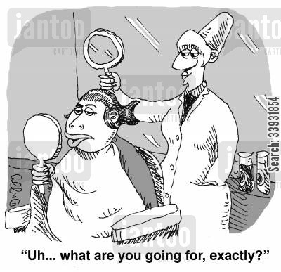 salons cartoon humor: 'Uh... what are you going for, exactly?'
