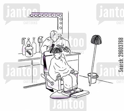 barbers cartoon humor: Mop chop.