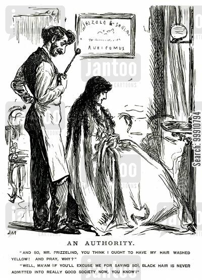 good society cartoon humor: Lady having her hair dyed