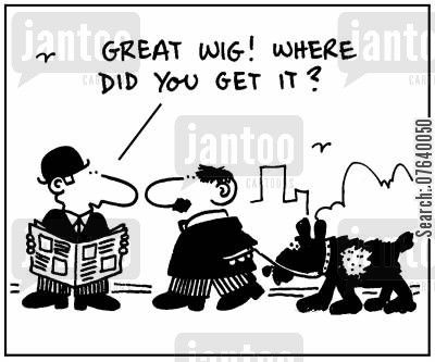 dog furs cartoon humor: 'Great wig. Where did you get it?.'