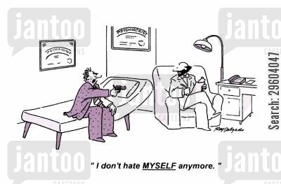 hates cartoon humor: 'I don't hate myself anymore.'