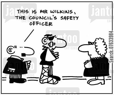 inspections cartoon humor: This is Mr.Wilkns, the council's safety officer.