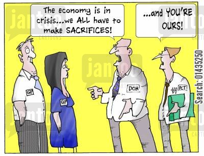 funding cuts cartoon humor: 'The economy is in crisis...we all have to make sacrifices and you're ours.'