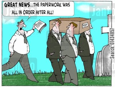 health services cartoon humor: 'Great News...the paperwork was all in order after all.'
