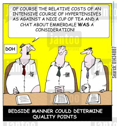medical commission cartoon humor: Bedside manner could determine quality points.