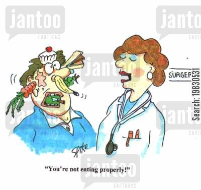 eating properly cartoon humor: 'You're not eating properly!'