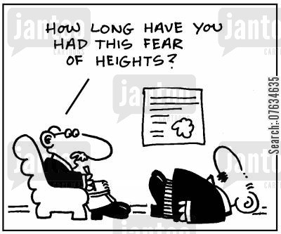 acrophobia cartoon humor: How long have you had this fear of heights?