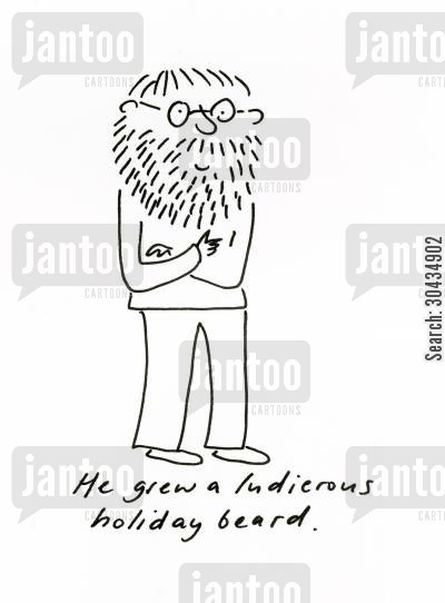 holiday beards cartoon humor: He grew a ludicrous holiday beard.