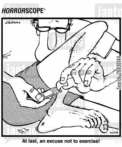 plasters cartoon humor: At last, an excuse not to exercise!