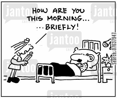 health budget cartoon humor: 'How are this morning, briefly?'