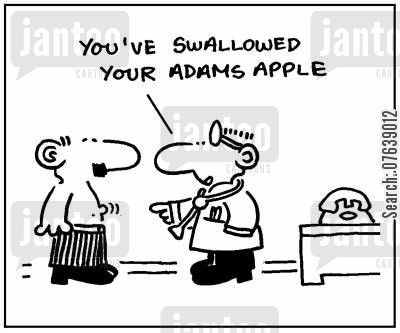 sore throats cartoon humor: 'You've swallowed your Adam's apple.'