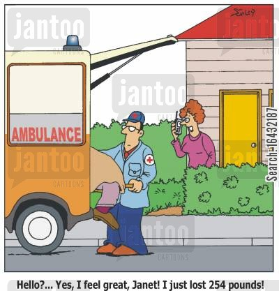 homemaker cartoon humor: 'Hello?... Yes, I feel great, Janet! I just lost 254 pounds!'