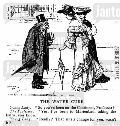 bathing cartoon humor: The Water Cure.