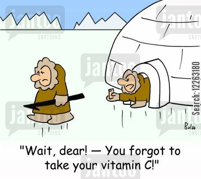 icey cartoon humor: 'Wait, dear! -- You forgot to take your vitamin C!'