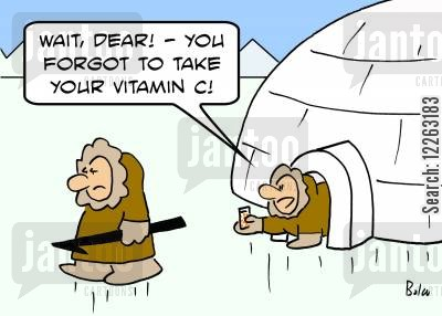 ice fishing cartoon humor: 'Wait, dear! -- You forgot to take your vitamin C!'