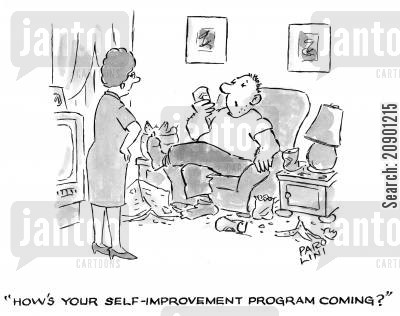 slobby cartoon humor: 'How's your self-improvement program coming?'