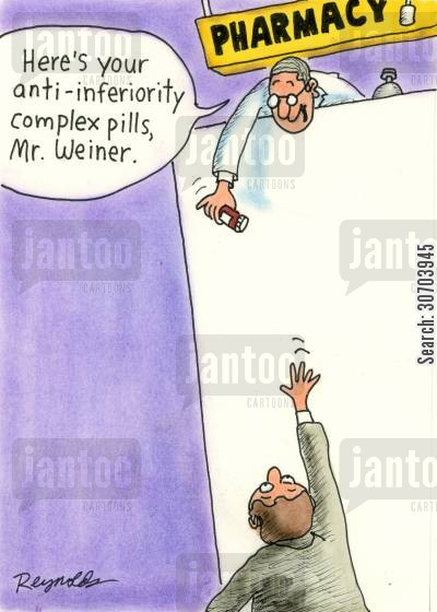 inferiority complex cartoon humor: 'Here's your anti-inferiority complex pills, Mr Weiner.'