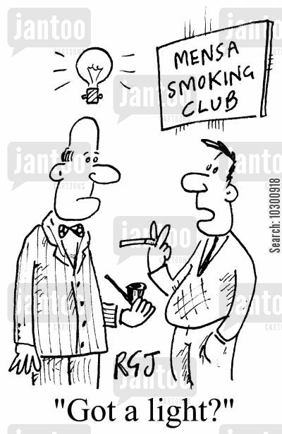 elitist cartoon humor: 'Mensa smoking club'