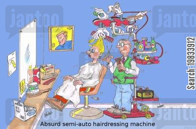 salons cartoon humor: Absurd semi-auto hairdressing machine