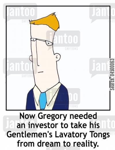 hair styling cartoon humor: 'Now Gregory needed an investor to take his Gentlemen's Lavatory Tongs from dream to reality.'