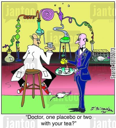 drug research cartoon humor: 'Doctor, one placebo or two with your tea?'
