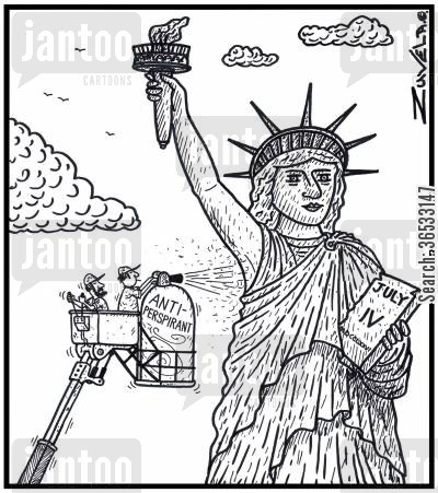 sweating cartoon humor: Maintenance worker spraying the armpit of the Statue of Liberty with Antiperspirant,