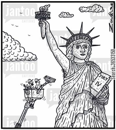 body hair cartoon humor: Maintenance worker about to shave the armpit of the Statue of Liberty.