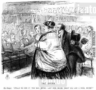 large woman cartoon humor: Large lady being shown to small seats at the opera.