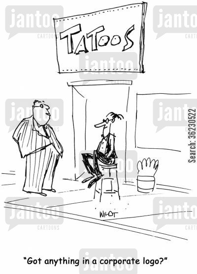 corporative cartoon humor: Got anything in a corporate logo?