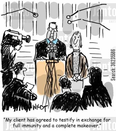 testifying cartoon humor: My client has agreed to testify in exchange for full immunity and a complete makeover.