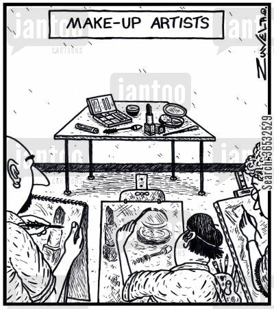 sketch cartoon humor: Make-up Artists.