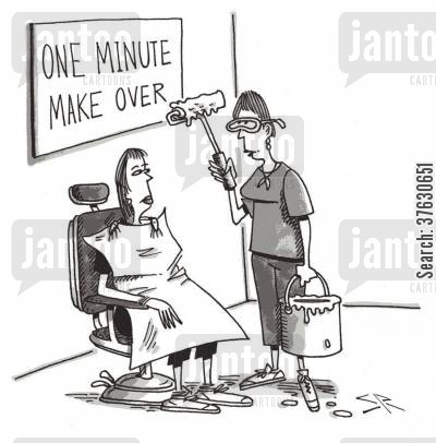 beauty parlours cartoon humor: One Minute Make Over.