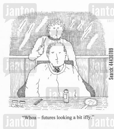 hair losses cartoon humor: 'Whoa - futures looking a bit iffy.'