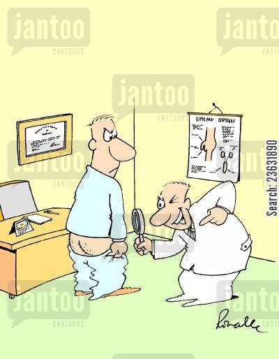 magnifying glass cartoon humor: Doctor examines patient's privates with a magnifying glass.