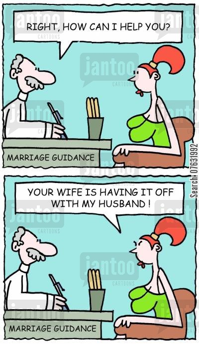 cheating husbands cartoon humor: 'Right, how can I help you?' 'Your wife is having it off with my husband!'