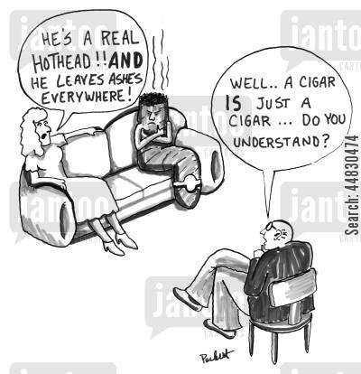 couples counselling cartoon humor: 'Well . .a cigar IS just a cigar...do you understand?'